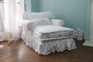 custom order chaise lounge shabby chic slipcovered white roses