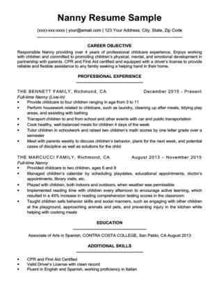 sle resume nanny housekeeper housekeeping resume sle resume companion