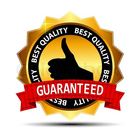 best quality guaranteed gold label with ribbon vector