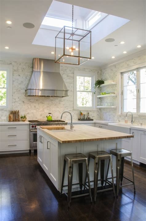 Skylight With Light Fixture Kitchen Skylight Transitional Kitchen Evars And