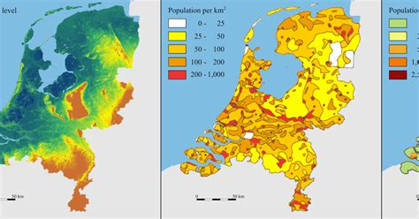 netherlands density map land of the rising water elevation and population density