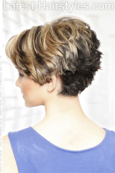 shorter hair in the back in yhe back longer on the front pics short tapered neckline haircuts for women back view long
