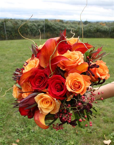fall flowers for weddings orange bridal bouquets bitsy bride