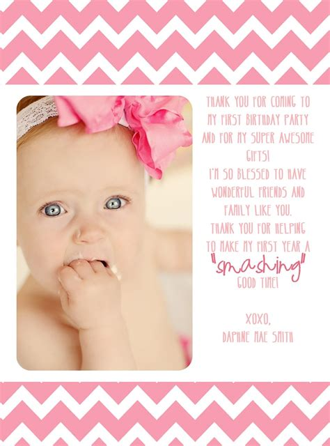 Thank You 1st Birthday Cards First Birthday Thank You Card 12 00 Via Etsy Wish I