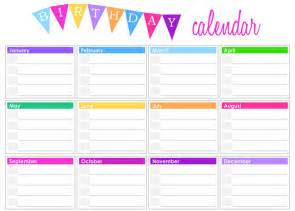 Printable Birthday Chart Template by Birthday Calendar Templates Free Calendar 2017