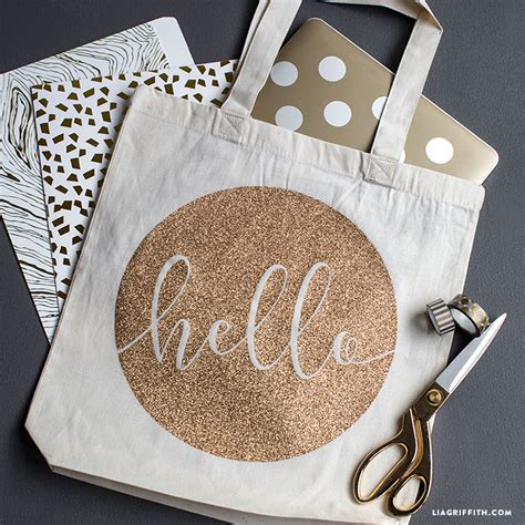 iron on quot hello quot iron on tote lia griffith
