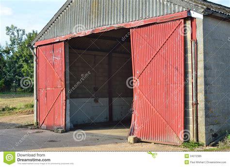 open the barn door concrete barn with open doors stock image image 34272385