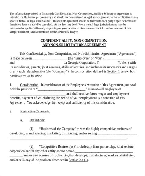confidentiality and non compete agreement template 10 sle non compete agreement free sle exle