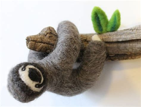 needle felted sloth on tree branch home decor wall