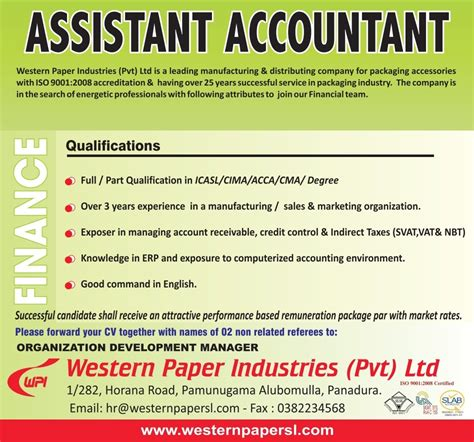 assistant accountant job vacancy in sri lanka