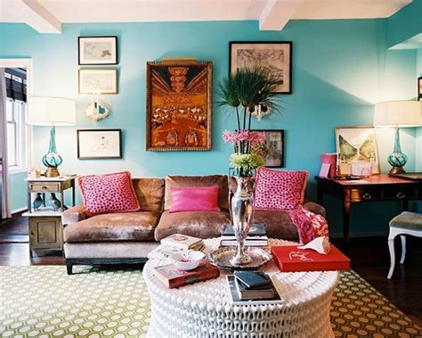 interior of living room in a bohemian style home