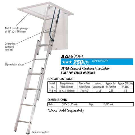 werner small opening attic ladder opening size 18 in by