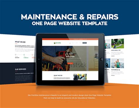 Maintenance Repairs One Page Website Template On Behance Website Maintenance Template