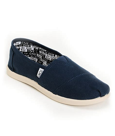 toms classic navy blue canvas slip on shoes