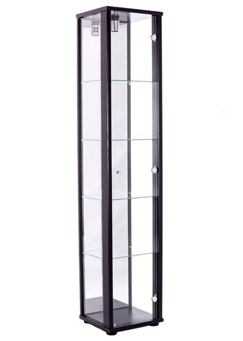 single door glass display cabinet black