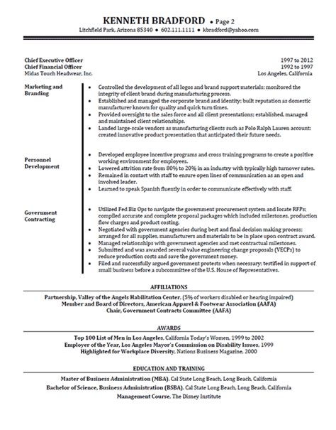 high level executive resume exle sle