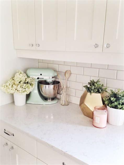 kitchen counter decor home pinterest creamy white shaker style kitchen cabinets subway tile