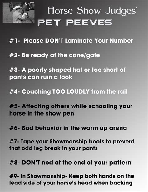 Top Pet Peeves top 10 horse show judges pet peeves equine chronicle