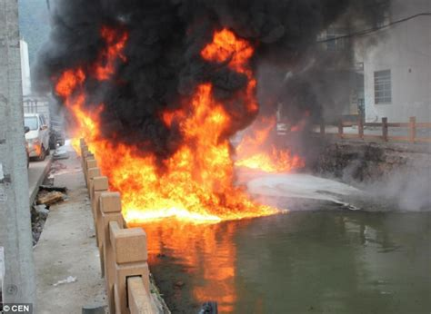 waterway becomes so polluted it bursts into