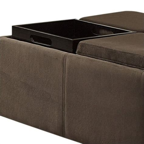 cocktail ottoman with tray trent home cocktail ottoman with 4 tray inserts in mocha
