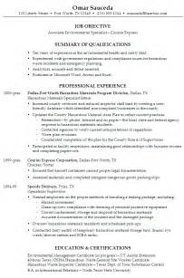 Environmental Health Specialist Sle Resume by Resume Associate Environmental Specialist For Courier Company