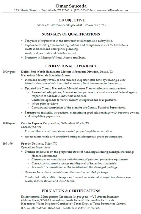 Resume Exles For Environmental Resume Associate Environmental Specialist Susan Ireland Resumes