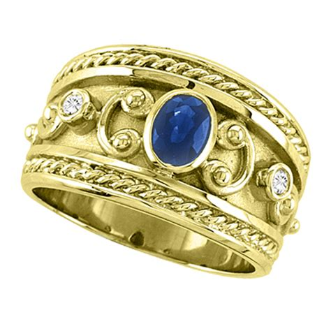 Ruby 4 59 Ct oval blue sapphire byzantine ring 14k yellow
