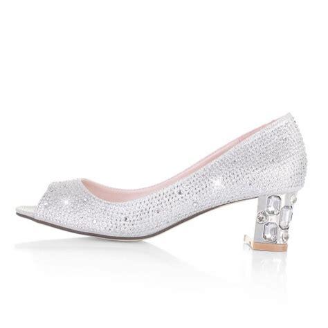 Wedding Shoes Low Heel by Silver Peep Toe Low Heel Shoe Xfashionisalifestyle