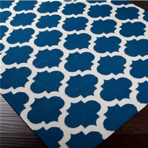 Light Blue Kitchen Rugs Ironwork Trellis Dhurrie Rug Cobalt Blue And Ivory Mediterranean Rugs By Shades Of Light
