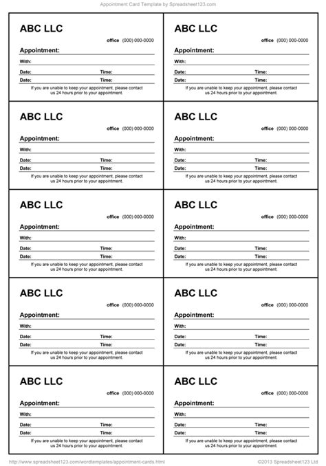 printable appointment cards templates appointment card template for word