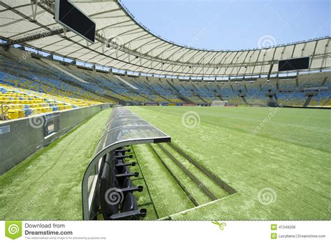 stadium benches football stadium dugout and pitch editorial stock photo