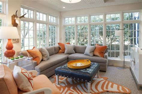 Orange And Grey Room Decor by Gray And Orange Living Rooms Contemporary Living Room