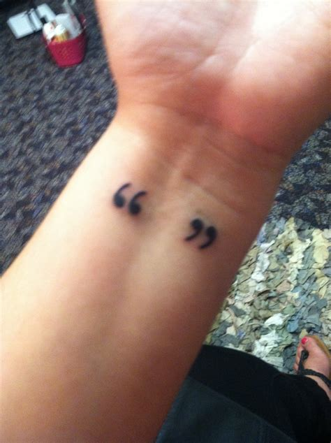 quotation mark tattoo meaning quotation marks should be on my right the