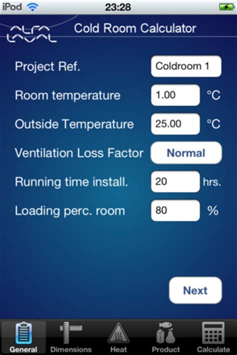 Iphone App To Check Room Temperature by Cold Room Calculator App For Iphone Business