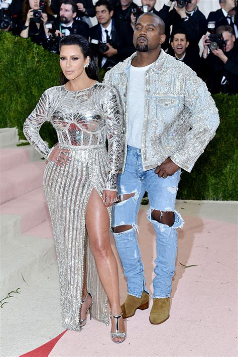2016 balmain with kanye west from kim kardashian s met gala looks through the years e news pics 2016 met ball red carpet photos kim kardashian more hollywood life