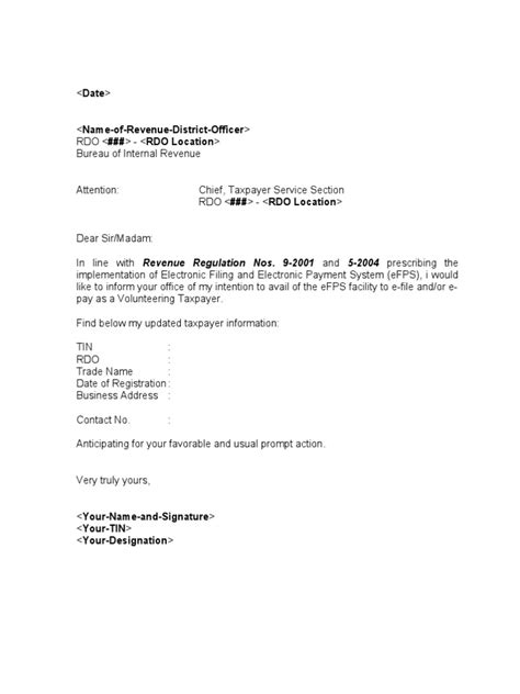 Request Letter Bir Sle Template Efps Letter Of Intent For Individual Taxpayer