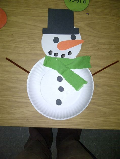 Snowman Paper Plate Craft - paper plate snowman projects