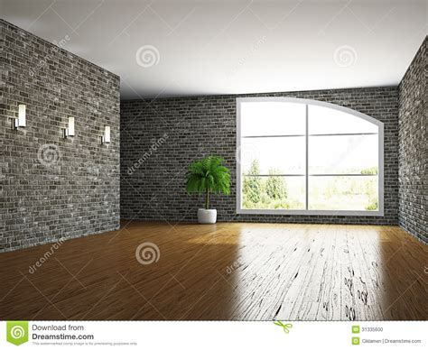 Modern Mansion Floor Plans The Empty Room With Brick Wall Stock Photo Image 31335600