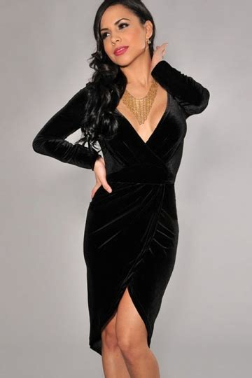 Bl V Slit black womens pleuche v slit pleated dress pink