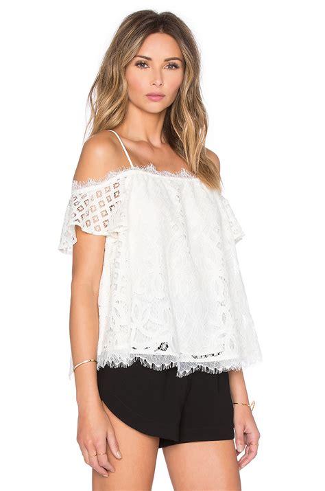 On Shoulder Shoulder Top lyst greylin cassis lace shoulder top in white