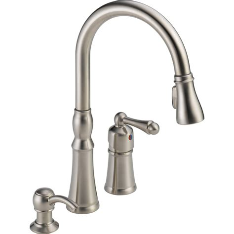 pull kitchen faucets shop peerless decatur stainless 1 handle deck mount pull kitchen faucet at lowes