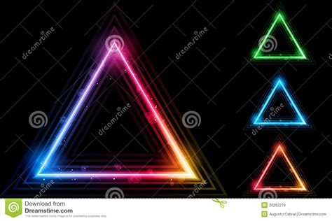 Triangel Neon by Set Of Neon Laser Triangle Border Royalty Free Stock