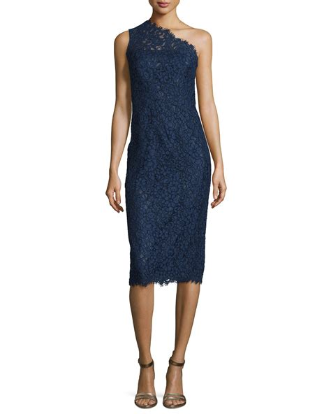 lyst shoshanna one shoulder lace midi cocktail dress in blue