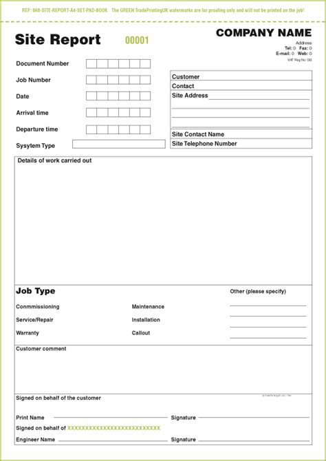 sle of site visit report free day works pads templates day works pads 163 40 ncr