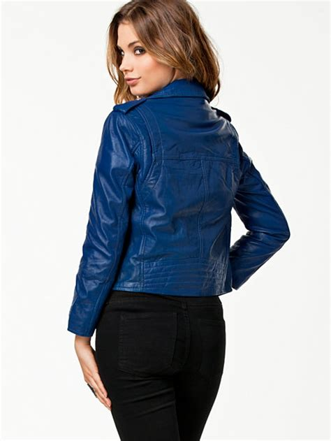 River Island Leather Cropped Jacket by Cropped Leather Jacket River Island Blue Jackets And