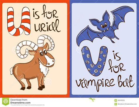 urial u letter children animal alphabet in vector children alphabet with animals urial and bat