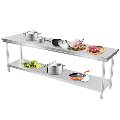 610x2438mm kitchen work prep table nsf cafeteria storage