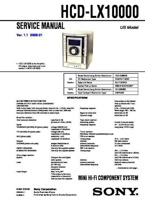 Sony Hcd Lx10000 Mhc Lx10000 Service Manual Free Download