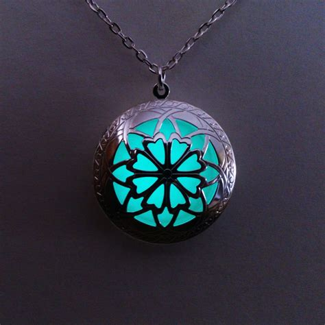 Glowing Necklace glowing locket necklace aqua glowing jewelry glow in