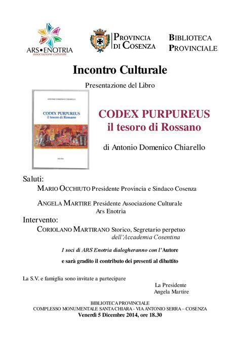 ufficio provinciale tesoro presentazione libro quot codex purpureus il tesoro di